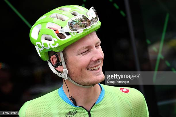 Dylan van Baarle of the Netherlands riding for Cannondale-Garmin talks to the media as he prepares for stage four of the 2015 Tour de France from...