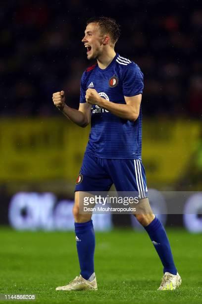 Dylan Vente of Feyenoord celebrates scoring during the Eredivisie match between NAC Breda and Feyenoord at Rat Verlegh Stadion on April 24 2019 in...