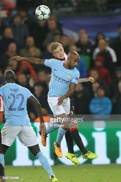 Dylan Vente of Feyenoord Fernandinho Luiz Roza of Manchester City during the UEFA Champions League group F match between Feyenoord Rotterdam and...