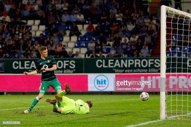 Dylan Vente of Feyenoord scores the fifth goal to make it 14 Timon Wellenreuther of Willem II during the Dutch Eredivisie match between Willem II v...