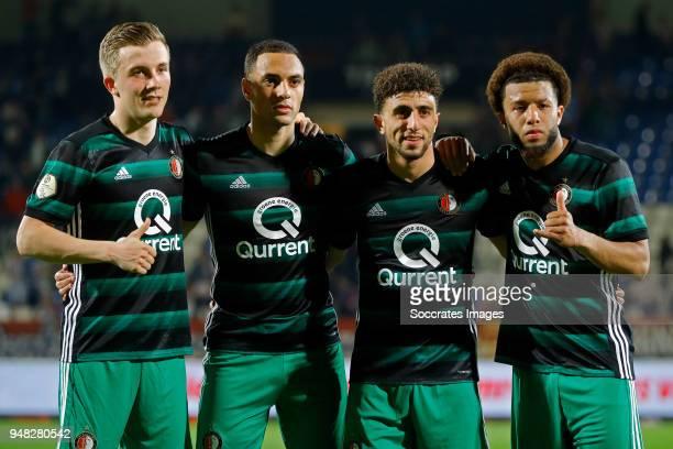 Dylan Vente of Feyenoord Sofyan Amrabat of Feyenoord Bilal Basacikoglu of Feyenoord Tonny Vilhena of Feyenoord celebrates the victory during the...