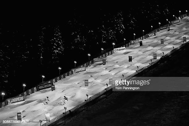 Dylan Walczyk competes against Anthony Benna of France in the men's FIS Freestyle Skiing Dual Moguls World Cup at Deer Valley Resort on February 6...