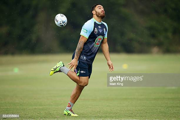 Dylan Walker of the Blues warms up during a New South Wales State of Origin training session on May 26 2016 in Coffs Harbour Australia
