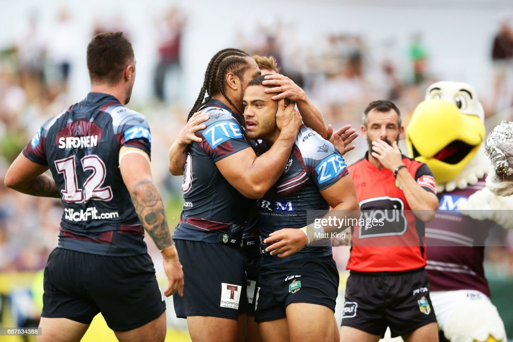 Dylan Walker of the Sea Eagles celebrates with team mates after scoring a try during the round four NRL match between the Manly Warringah Sea Eagles and the Canterbury Bulldogs at Lottoland on March 25, 2017 in Sydney, Australia.