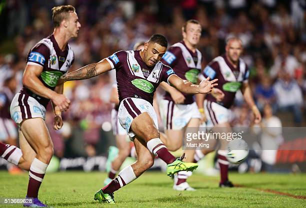 Dylan Walker of the Sea Eagles kicks during the round one NRL match between the Manly Warringah Sea Eagles and the Canterbury Bulldogs at Brookvale...