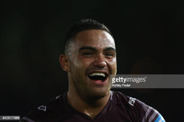 Dylan Walker of the Sea Eagles looks on after winning during the NRL Trial match between the Manly Warringah Sea Eagles and Sydney Roosters at...