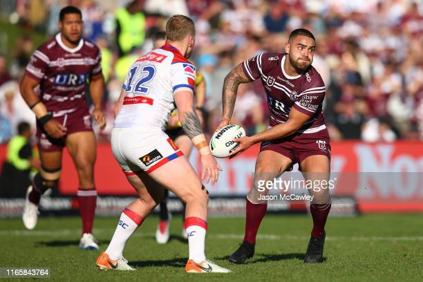 Dylan Walker of the Sea Eagles looks to pass during the round 20 NRL match between the Manly Sea Eagles and the Newcastle Knights at Lottoland on...