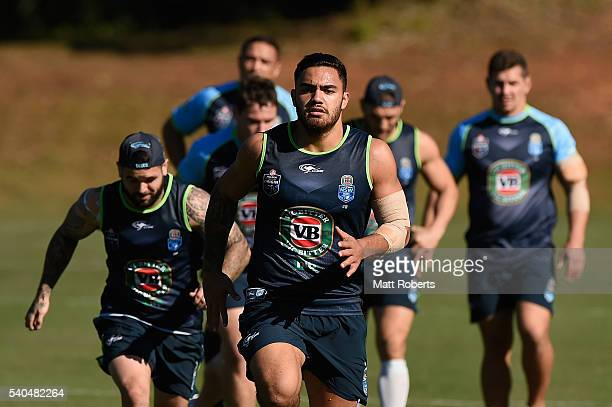 Dylan Walker runs during a New South Wales Blues State of Origin training session on June 16 2016 in Coffs Harbour Australia