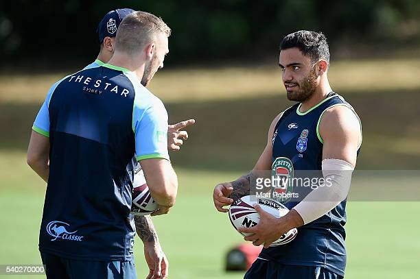 Dylan Walker speaks with his team mates during a New South Wales Blues State of Origin training session on June 15 2016 in Coffs Harbour Australia