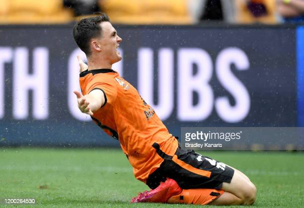Dylan Wenzel Halls of the Roar celebrates scoring a goal during the round 15 A-League match between the Brisbane Roar and the Wellington Phoenix at...