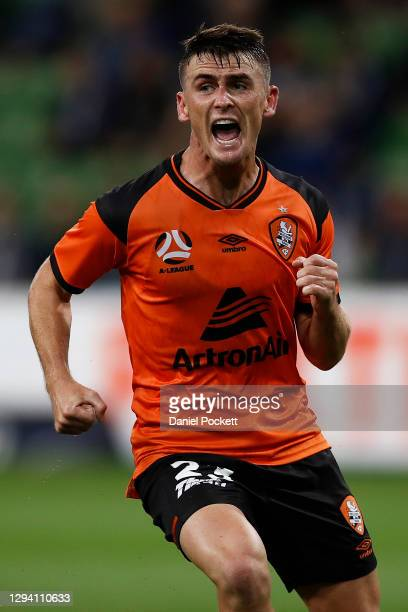 Dylan Wenzel-Halls of the Roar celebrates after kicking a goal during the A-League match between the Melbourne Victory and the Brisbane Roar at AAMI...