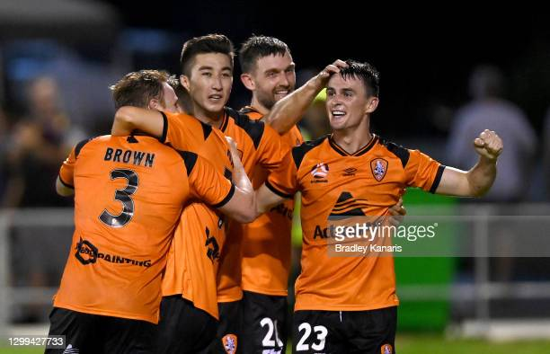 Dylan Wenzel-Halls of the Roar celebrates after scoring a goal during the A-League match between the Brisbane Roar and Adelaide United at Dolphin...