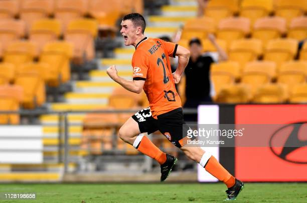 Dylan WenzelHalls of the Roar celebrates scoring a goal during the round 18 ALeague match between the Brisbane Roar and Sydney FC at Suncorp Stadium...