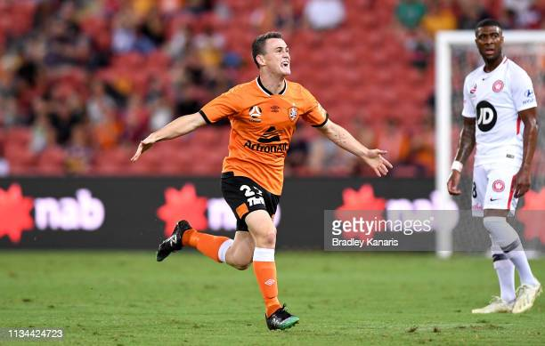 Dylan WenzelHalls of the Roar celebrates scoring a goal during the round 21 ALeague match between the Brisbane Roar and the Western Sydney Wanderers...