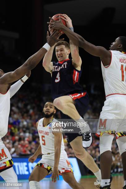 Dylan Windler of the Belmont Bruins is fouled by the Maryland Terrapins in the second half during the first round of the 2019 NCAA Men's Basketball...