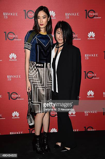 Dylan Xue and Masha Ma attends Vogue China 10th Anniversary at Palazzo Reale on September 28 2015 in Milan Italy