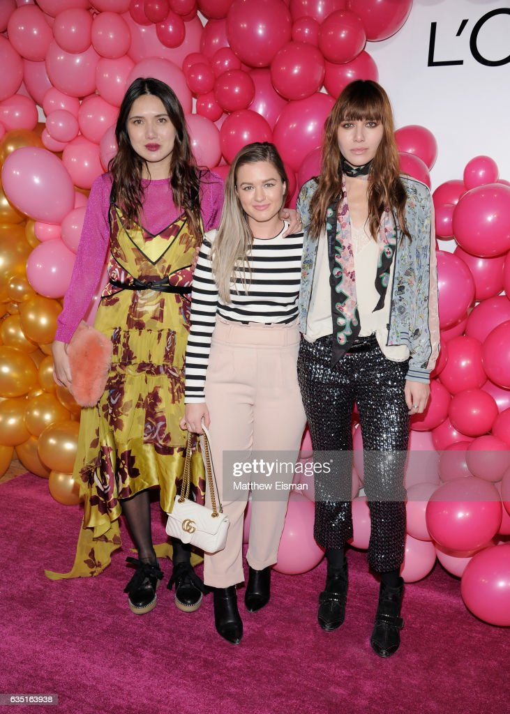 Dylana Suarez, Beatrice Balaj and Natalie Lim Suarez attends the L'Oreal Paris Paints + Colorista launch event at West Edge on February 13, 2017 in New York City.