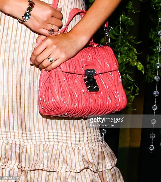 Dylana Suarez purse detail at the 2018 CFDA Fashion Awards' Swarovski Award For Emerging Talent Nominee Cocktail Party at DUMBO House on May 16 2018...