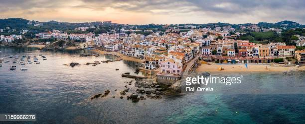 dyllic costa brava seaside town calella de palafurgell in girona province, catalonia. spain - espanha imagens e fotografias de stock