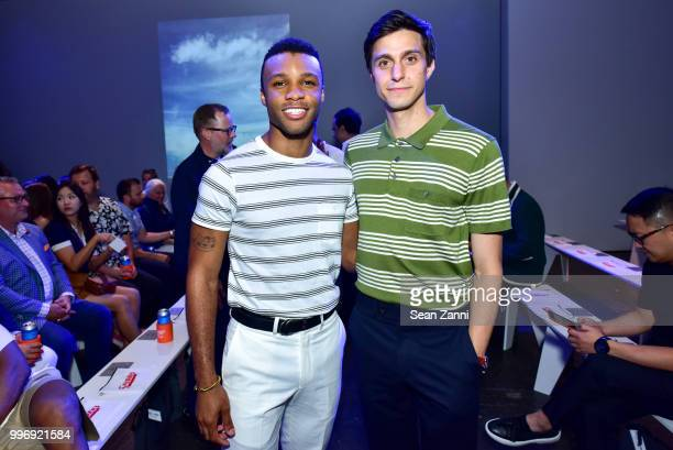 Dyllon Burnside and Gideon Glick attend the Todd Snyder S/S 2019 Collection during NYFW Men's July 2018 at Industria Studios on July 11 2018 in New...