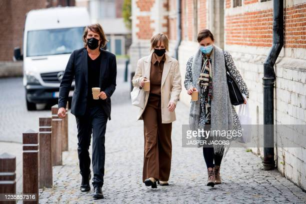 Dymphne Poppe and Liesbet Stevens pictured arriving for a session of the Criminal Court in Mechelen in the trial of television producer Bart De Pauw,...