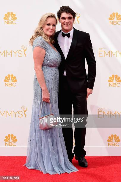 Dyna Mitte and actor RJ Mitte attend the 66th Annual Primetime Emmy Awards held at Nokia Theatre L.A. Live on August 25, 2014 in Los Angeles,...