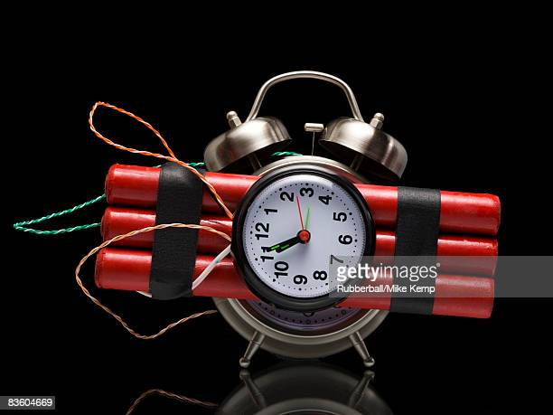 dynamite alarm clock - time bomb stock photos and pictures