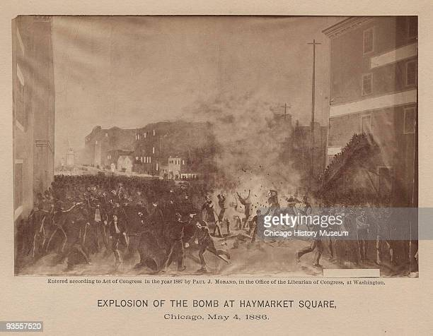 A dynamite bomb explodes among the police triggering the tragic events at Haymarket Square Chicago May 4 1886