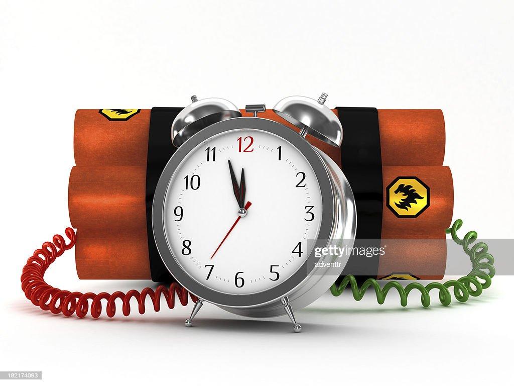 Dynamite with metal alarm clock : Stock Photo