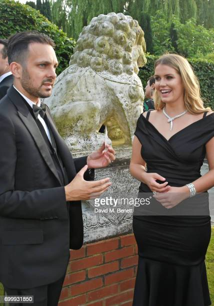 Dynamo and Lady Kitty Spencer attend the Woodside Gallery Dinner in benefit of Elton John AIDS Foundation in partnership with BVLGARI at Woodside on...