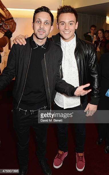 Dynamo and Tom Daley attend a NT Live gala performance of 'War Horse' at The New London Theatre Drury Lane on February 27 2014 in London England