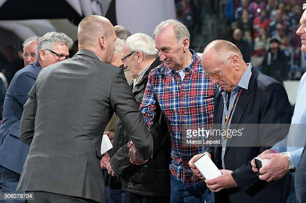 Dynamo Berlin Winner's team of 1966 during the DEL game between the Eisbaeren Berlin and Duesseldorfer EG on January 22 2016 in Berlin Germany