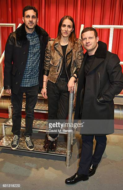 Dynamo Delphine Ninous and Dermot O'Leary attend the Belstaff presentation during London Fashion Week Men's January 2017 collections at Ambika P3 on...