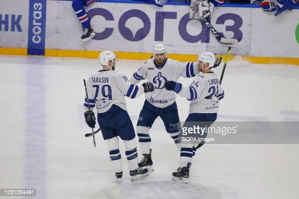 Dynamo Hockey Club team players celebrate during the Kontinental Hockey League 2020/21 Regular Season between SKA Saint Petersburg and Dynamo Moscow...
