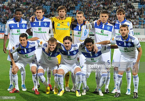 FC Dynamo Kiev players pose for a picture prior to the UEFA Europa League Group E football match against Stoke City FC in Kiev on September 15 2011...