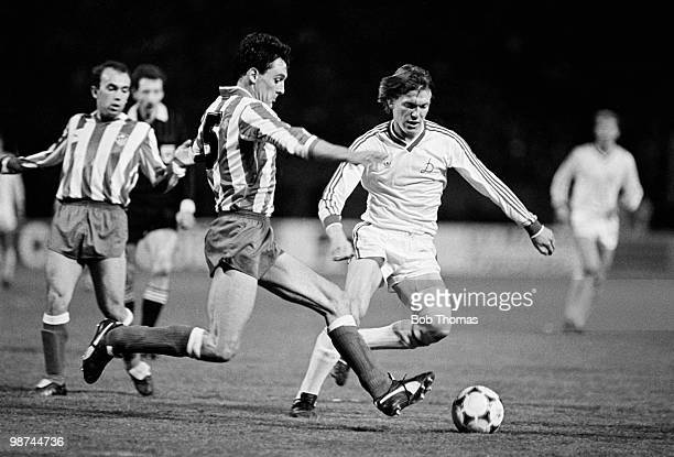 Dynamo Kiev striker Oleg Blokhin is challenged by Athletico Madrid defender Miguel Angle Ruiz during the European Cup Winners Cup Final match held at...