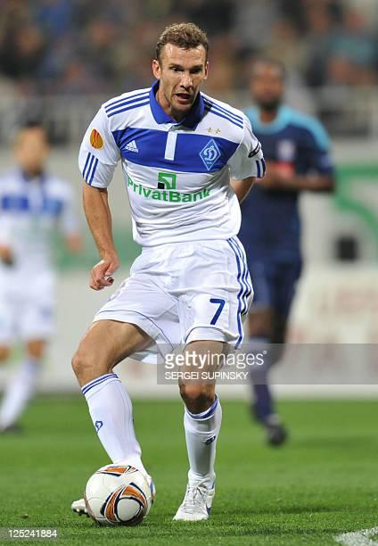 FC Dynamo Kiev's forward Andriy Shevchenko controls the ball during the UEFA Europa League Group E football match agaianst Stoke City FC in Kiev on...