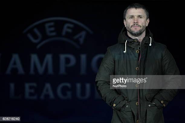 Dynamo Kiev's manager Serhiy Rebrov waits for his team's Champions League group B soccer match against Besiktas at the Olympiyskiy stadium in Kiev...