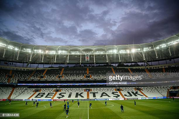 Dynamo Kiev's players attend a training session at the Vodafone Arena on September 27 2016 in Istanbul on the eve of their Champions League group B...
