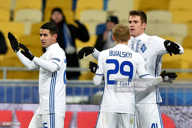 FC Dynamo Kiev's players celebrate after scoring a goal during the Champions League football match between FC Dynamo and Besiktas JK on December 6...