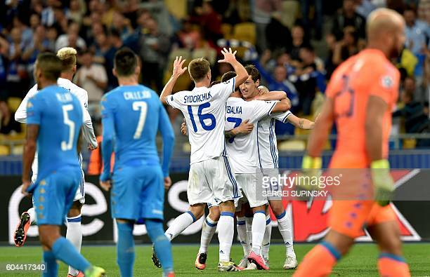 FC Dynamo Kiev's players celebrate after scoring a goal during the UEFA Champions League football match between FC Dynamo and SSC Napoli at the...