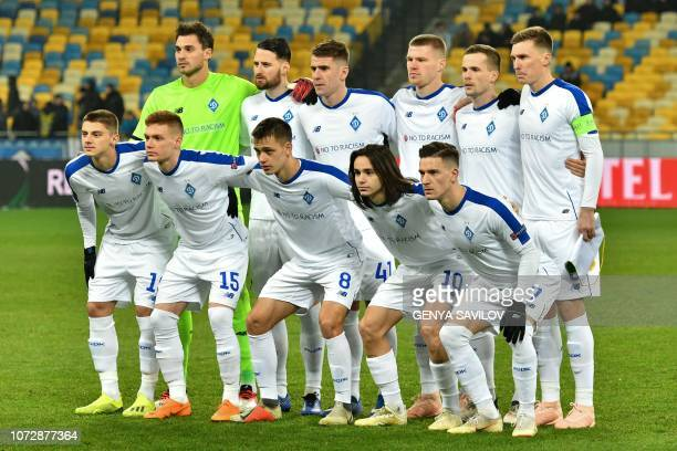 Dynamo Kiev's players pose for a photo before the UEFA Europa League Group K football match between Dynamo Kiev and Jablonec at the Olympiyski...
