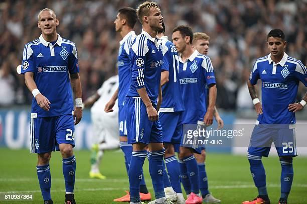 Dynamo Kiev's players react after Besiktas' Ricardo Quaresma scores a goal during the UEFA Champions League football match Besiktas versus Dynamo...