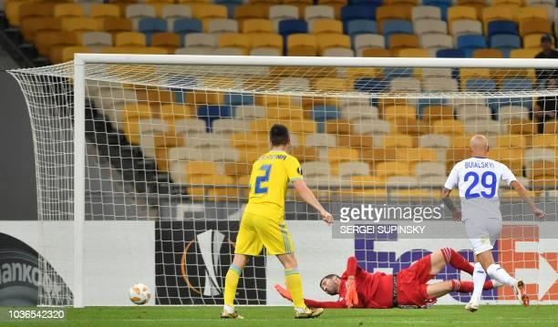 Dynamo Kiev's Polish defender Tomasz Kedziora fights for the ball with Astana's Bosnian defender Marin Anicic during the UEFA Europa League Group K...