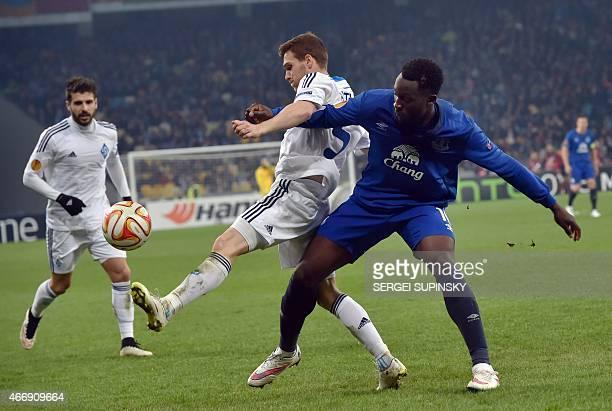 Dynamo Kiev's Portuguese left back Vitorino Antunes and Everton FC's Belgian forward Romelu Lukaku vie for the ball during the UEFA Europa League...