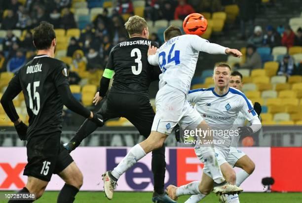 Dynamo Kiev's Tomasz Kedziora and Jablonec's Tomas Hubschman vie for a ball during the UEFA Europa League Group K football match between Dynamo Kyiv...