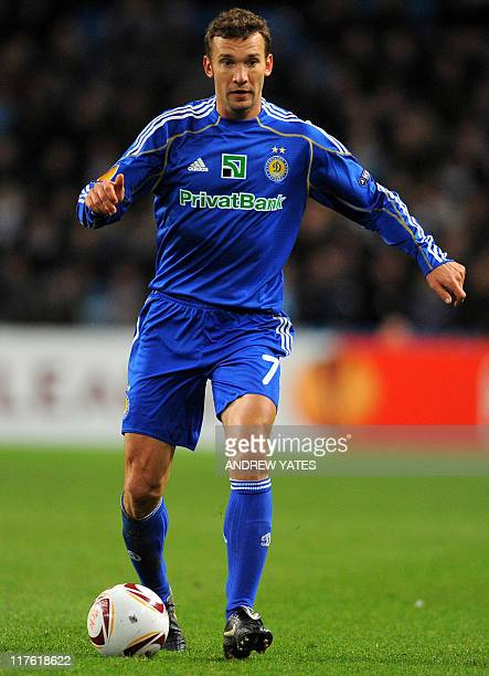 Dynamo Kiev's Ukrainian forward Andriy Shevchenko runs with the ball during the Europa league after the UEFA Europa League Round of 16 football match...