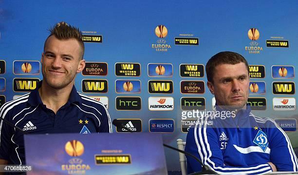 Dynamo Kiev's Urkainian forward Andriy Mykolaiovich Yarmolenko and Ukrainian head coach Serhiy Rebrov deliver a press conference at the Artemio...