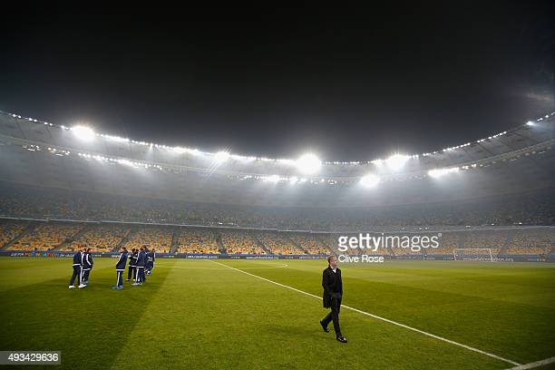 Dynamo Kyiv Manager Serhiy Rebrov looks at the pitch prior to kick off during the UEFA Champions League Group G match between FC Dynamo Kyiv and...