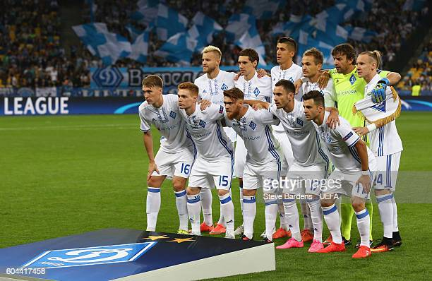 Dynamo Kyiv players pose for a team picture prior to the UEFA Champions League Group B match between FC Dynamo Kyiv and SSC Napoli at the NSK...